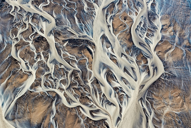 Aerial Series by Emmanuel C Aerial image of river delta in Iceland.